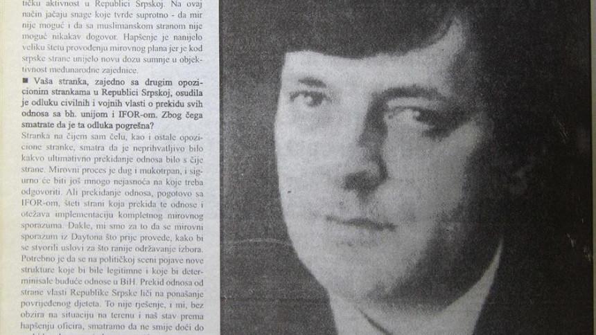 Милорад Додик 1996. године: Радован Караџић и Ратко Младић морају у Хаг