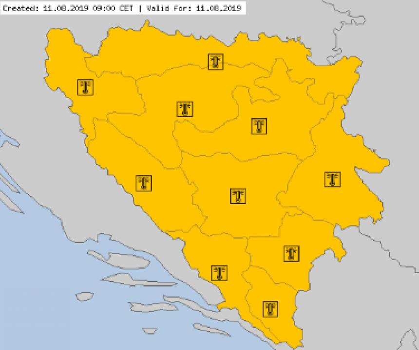 Narandžasto upozorenje za čitavu BiH