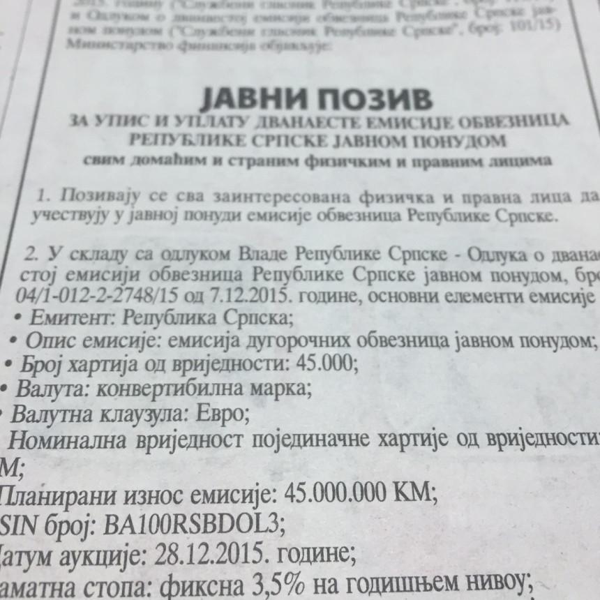 Srpska se neplanirano zadužuje za 45 mil.