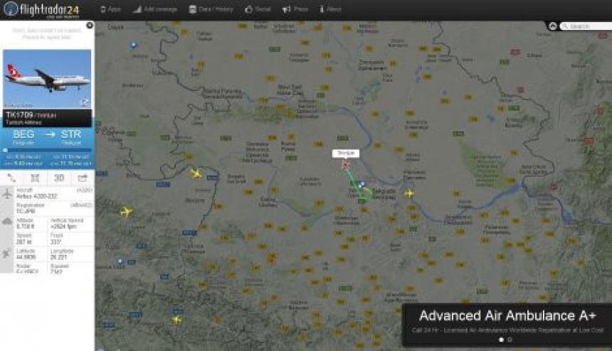 Vanredno slijetanje turskog aviona