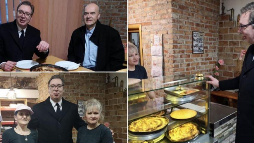 Vučić jeo pitu u pekari kod Zaima
