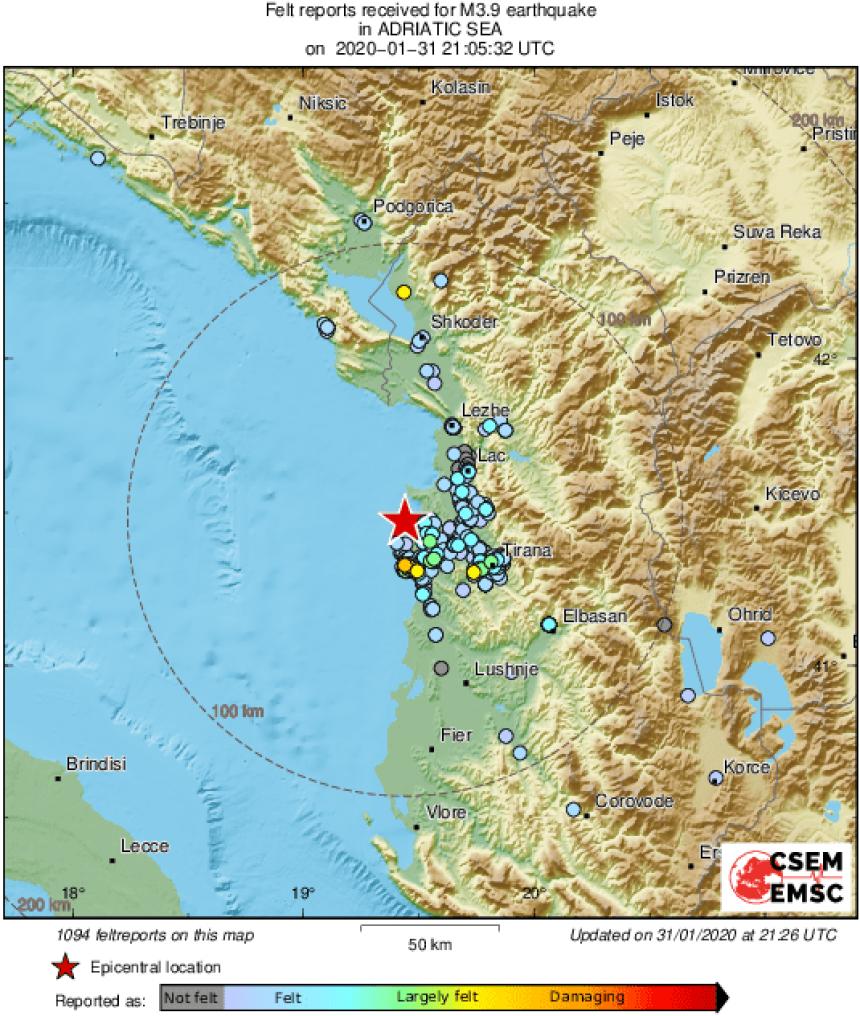 Još jedan zemljotres potresao Albaniju