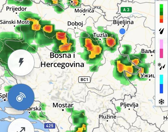 Ovako trenutno izgleda radarska slika u BiH