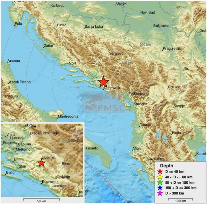 Slabiji zemljotres registrovan u blizini Trebinja