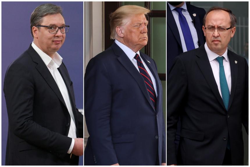 Трамп, Вучић и Хоти на церемонији потписивања