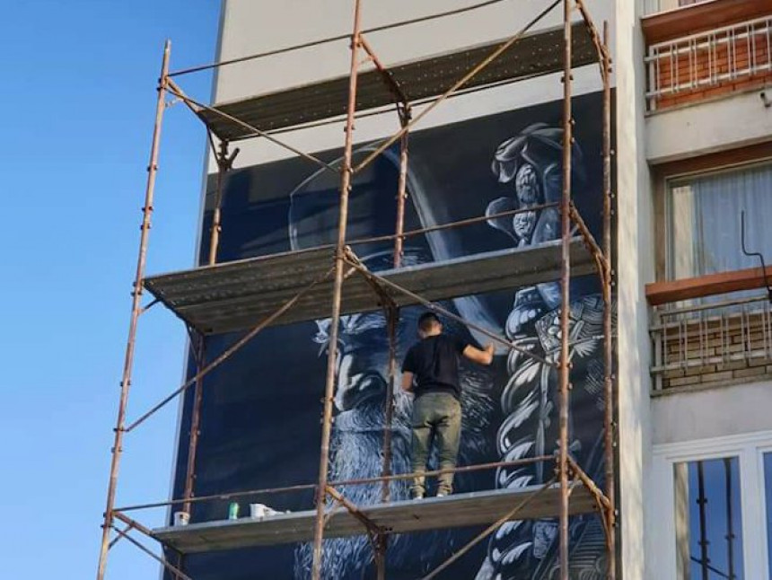 U Foči oslikan mural mitropolita Amfilohija
