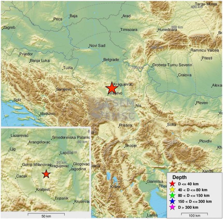 Potres u regionu Kragujevca 3,3 stepena po Rihteru