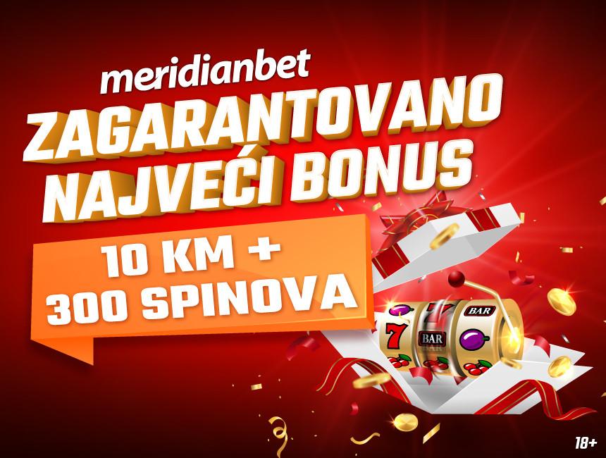 Najveći bonus od 10 KM + 300 spinova BESPLATNO
