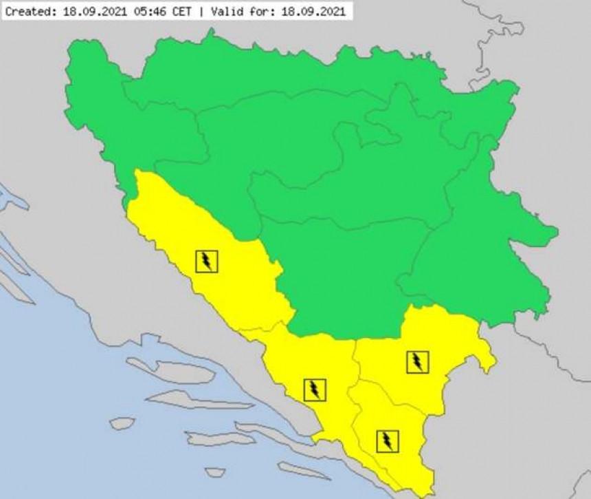 Žuti meteoalarm upaljen u BiH zbog grmljavine